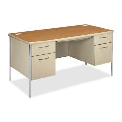 HON® Mentor Double-Pedestal Desk, Harvest