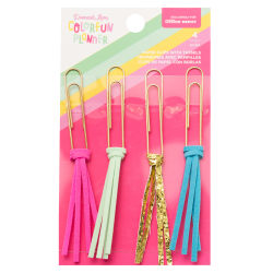 American Crafts Damask Love Colorfun Planner Paper Clips With Tassels, Assorted Colors, Pack Of 4 Paper Clips