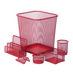 Honey-Can-Do 6-Piece Mesh Desk Organizer Set, Red