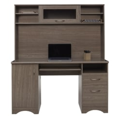"""Realspace® Pelingo 56""""W Desk With Hutch, 64""""H x 55-1/2""""W x 23""""D, Gray"""