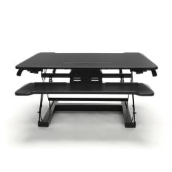 Essentials By OFM Adjustable Desktop Riser With Keyboard Tray, Black