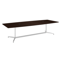 "Bush Business Furniture 120""W x 48""D Boat Shaped Conference Table with Metal Base, Mocha Cherry/Silver, Standard Delivery"