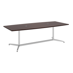 """Bush Business Furniture 96""""W x 42""""D Boat Shaped Conference Table with Metal Base, Harvest Cherry/Silver, Standard Delivery"""