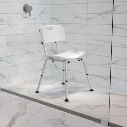 """Flash Furniture Hercules Adjustable Bath And Shower Chair With Back, 33-1/4""""H x 19""""W x 20""""D, White"""
