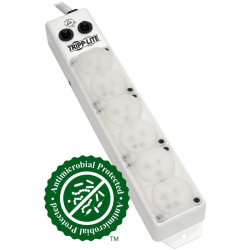 Tripp Lite Power Strip Medical Hospital Grade UL1363A 6 Outlet 20A 7ft Cord - NEMA 5-20P-HG - 6 x NEMA 5-20R-HG - 7 ft Cord - 20 A Current - 120 V AC Voltage - Rack-mountable, Surface-mountable - White