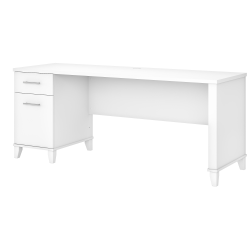 "Bush Furniture Somerset Office Desk With Drawers, 72""W, White, Standard Delivery"
