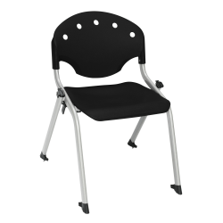 """OFM Rico Student Stack Chairs, 14"""" Seat Height, Black/Silver, Set Of 6"""