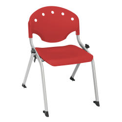 "OFM Rico Student Stack Chair, 25""H x 18""D x 18""W, Red/Silver, Set Of 6"