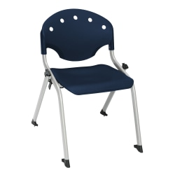 """OFM Rico Student Stack Chair, 25""""H x 18""""D x 18""""W, Navy/Silver, Set Of 6"""