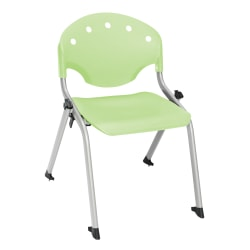 "OFM Rico Student Stack Chair, 25""H x 18""D x 18""W, Lime Green/Silver, Set Of 6"