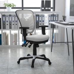 Flash Furniture Ergonomic Mesh Mid-Back Swivel Task Chair, White/Black
