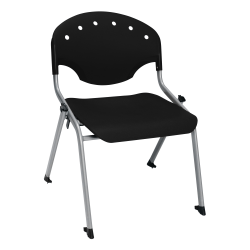 """OFM Rico Student Stack Chair, 30""""H x 22""""D x 24""""W, Black/Silver, Set Of 6"""
