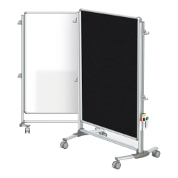 """Ghent Nexus Jr. Partition Double-Sided Mobile Magnetic Whiteboard And Bulletin Board, 46 1/4"""" x 34 1/4"""", Black Fabric/Silver Aluminum Frame"""