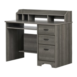 "South Shore Versa 45""W Computer Desk With Hutch, Gray Maple"
