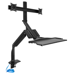 Mount-It! MI-7984 Dual-Monitor Sit-Stand Workstation With Gas Lift, Black