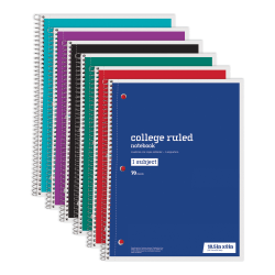 """Just Basics® Wirebound Notebook, 3-Hole Punched, 8"""" x 10 1/2"""", 1 Subject, College Ruled, 70 Sheets, Assorted Colors, Pack Of 6"""