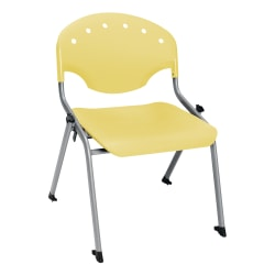 """OFM Rico Student Stack Chair, 30""""H x 22""""D x 24""""W, Lemon Yellow/Silver, Set Of 6"""