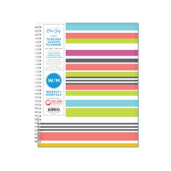 "Blue Sky™ Teacher Weekly/Monthly CYO Planner, 8-1/2"" x 11"", Teacher Stripes, July 2020 To June 2021, 105628-A"