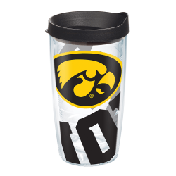 Tervis Genuine NCAA Tumbler With Lid, Iowa Hawkeyes, 16 Oz, Clear