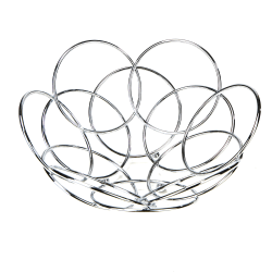 "Mind Reader Modern Stainless Steel Fruit And Vegetable Basket Bowl, 11"", Silver"