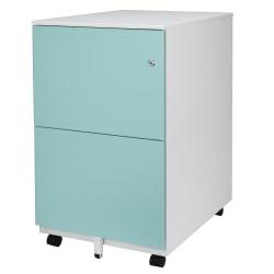 "Aurora SOHO 25""D Vertical 2-Drawer Mobile File Cabinet, Metal, White/Aqua Blue"