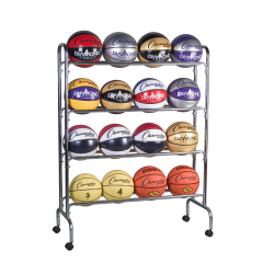 "Champion Sports 16-Ball Basketball Rack, 53"" x 17"" x 41"", Steel"