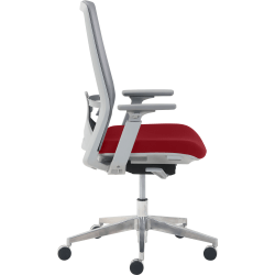 True Commercial Melbourne Mesh/Fabric Mid-Back Chair, Red/Off-White
