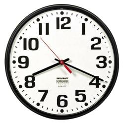 "Shatterproof Crystal Dial Cover Clock, 12"" Diameter, Black Frame (AbilityOne 6645-01-389-7944)"
