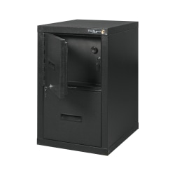 "FireKing® FireShield 22""D Vertical 1-Drawer File Cabinet And Safe, Metal, Black Stone"