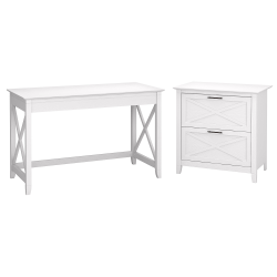 "Bush Furniture Key West 48""W Writing Desk With 2-Drawer Lateral File Cabinet, Pure White Oak, Standard Delivery"