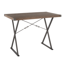 Lumisource Prep Industrial Counter Table, Brown Bamboo/Antique Metal