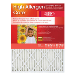 """DuPont High Allergen Care™ Electrostatic Air Filters, 25""""H x 16""""W x 1""""D, Pack Of 4 Filters"""