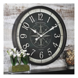 FirsTime & Co.® Compass Rose Round Wall Clock, Oil-Rubbed Bronze