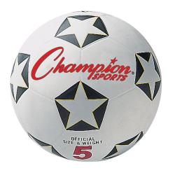 Champion Sports Soccer Ball, Size 5, Black/Red/White