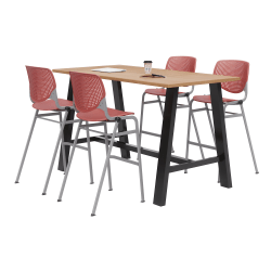 """KFI Midtown Bistro Table With 4 Stacking Chairs, 41""""H x 36""""W x 72""""D, Kensington Maple/Coral Orange"""