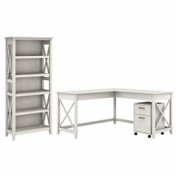 "Bush Furniture Key West 60""W L-Shaped Desk With 2-Drawer Mobile File Cabinet And 5-Shelf Bookcase, Linen White Oak, Standard Delivery"