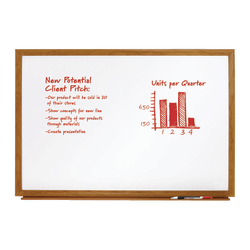 """FORAY™ Melamine Non-Magnetic Dry-Erase Whiteboard, 48"""" x 72"""", Wood Frame With Oak Finish"""