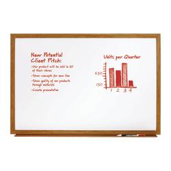 """FORAY™ Melamine Non-Magnetic Dry-Erase Whiteboard, 48"""" x 96"""", Wood Frame With Oak Finish"""