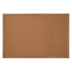 "Office Depot® Brand Cork Bulletin Board, 36"" x 48"", Wood Frame With Oak Finish"