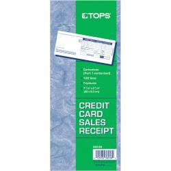 "TOPS Credit Card Sales Slip Forms - 15 lb - 3 Part - Carbonless Copy - 3 1/4"" x 7 7/8"" Sheet Size - White Sheet(s) - Blue Print Color - Paper - 100 / Pack"