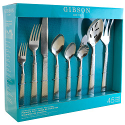Gibson Home 45-Piece Flatware Set, Prato, Silver