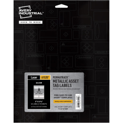 "Avery® PermaTrack Metallic Asset Tag Labels - Permanent Adhesive - 3 3/4"" Width x 2"" Length - Rectangle - Laser - White - Metal - 8 / Sheet - 64 Total Label(s) - 64 / Pack"