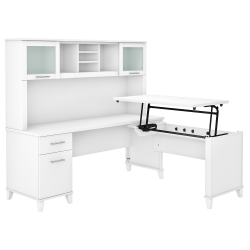 "Bush Furniture Somerset 72""W 3-Position Sit-To-Stand L-Shaped Desk With Hutch, White, Standard Delivery"