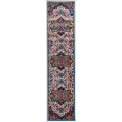 """Linon Home Decor Products Sinclair Area Rug, 144""""H x 24""""W, Minlo, Ivory/Teal"""