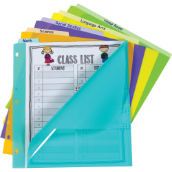 """C-Line Bright Pocket Vertical Tab Index Dividers - 5 Write-on Tab(s) - 5 Tab(s)/Set - Letter - 8 1/2"""" Width x 11"""" Length - 3 Hole Punched - Green Polypropylene, Orange, Purple, Yellow, Turquoise Divider - 5 / Set"""