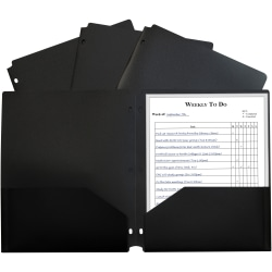"C-Line 2-pocket Heavyweight Poly Portfolio Pocket - 11.4"" Length - 100 mil Thickness - For Letter 8 1/2"" x 11"" Sheet - 3 x Holes - Ring Binder - Rectangular - Black - Polypropylene - 25 / Box"