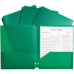 "C-Line 2-pocket Heavyweight Poly Portfolio Pocket - 11.4"" Length - 100 mil Thickness - For Letter 8 1/2"" x 11"" Sheet - 3 x Holes - Ring Binder - Rectangular - Green - Polypropylene - 25 / Box"