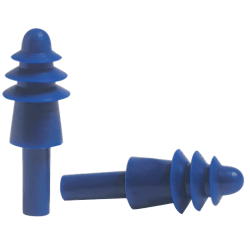 Fusion® Multiple-Use Earplug, Thermoplastic Elastomer,Blue/White, Corded