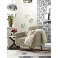 Elle Décor Chloe Mid-Century Modern Arm Chair, Beige/Chestnut