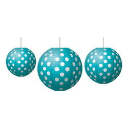 Teacher Created Resources Paper Lanterns, Polka Dots, Teal/White, Grades Pre-K - 8, Pack Of 3